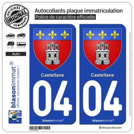 2 Autocollants plaque immatriculation Auto 04 Castellane - Armoiries