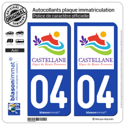 2 Autocollants plaque immatriculation Auto 04 Castellane - Tourisme