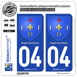 2 Autocollants plaque immatriculation Auto 04 Digne-les-Bains - Armoiries