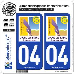 2 Autocollants plaque immatriculation Auto 04 Digne-les-Bains - Tourisme