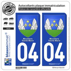2 Autocollants plaque immatriculation Auto 04 Moustiers-Sainte-Marie - Armoiries