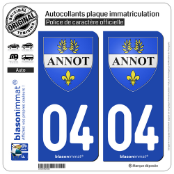 2 Autocollants plaque immatriculation Auto 04 Annot - Armoiries