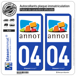 2 Autocollants plaque immatriculation Auto 04 Annot - Commune