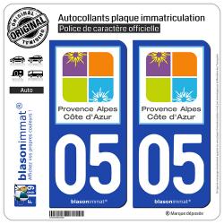 2 Autocollants plaque immatriculation Auto 05 PACA - Tourisme
