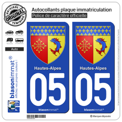 2 Autocollants plaque immatriculation Auto 05 Hautes-Alpes - Armoiries