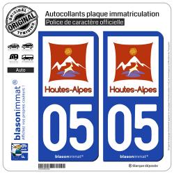 2 Autocollants plaque immatriculation Auto 05 Hautes-Alpes - Département