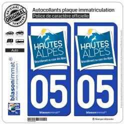 2 Autocollants plaque immatriculation Auto 05 Hautes-Alpes - Tourisme