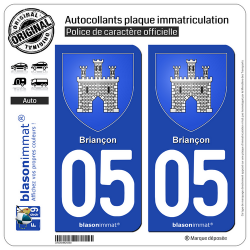 2 Autocollants plaque immatriculation Auto 05 Briançon - Armoiries