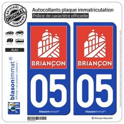 2 Autocollants plaque immatriculation Auto 05 Briançon - Ville