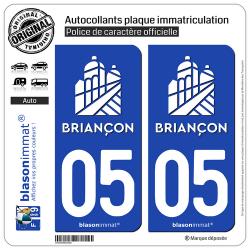 2 Autocollants plaque immatriculation Auto 05 Briançon - Ville II