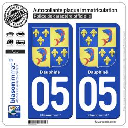 2 Autocollants plaque immatriculation Auto 05 Dauphiné - Armoiries III
