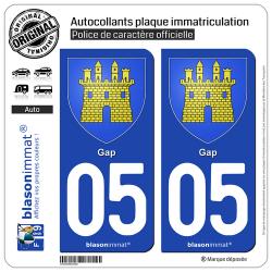 2 Autocollants plaque immatriculation Auto 05 Gap - Armoiries