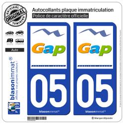 2 Autocollants plaque immatriculation Auto 05 Gap - Ville