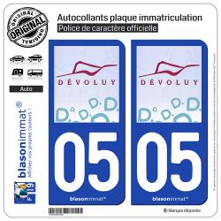 2 Autocollants plaque immatriculation Auto 05 Le Devoluy - Commune