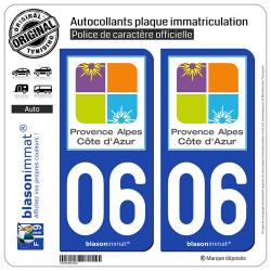 2 Autocollants plaque immatriculation Auto 06 PACA - Tourisme