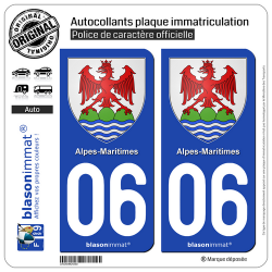 2 Autocollants plaque immatriculation Auto 06 Alpes-Maritimes - Armoiries