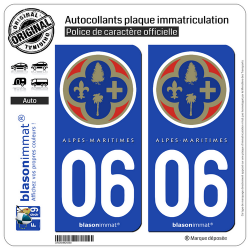 2 Autocollants plaque immatriculation Auto 06 Alpes-Maritimes - Département