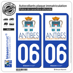 2 Autocollants plaque immatriculation Auto 06 Antibes - Ville