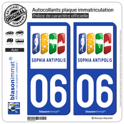 2 Autocollants plaque immatriculation Auto 06 Antibes - Agglo