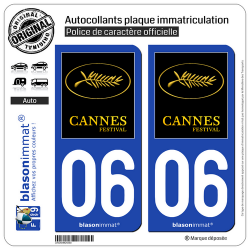 2 Autocollants plaque immatriculation Auto 06 Cannes - Festival