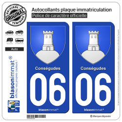 2 Autocollants plaque immatriculation Auto 06 Conségudes - Armoiries
