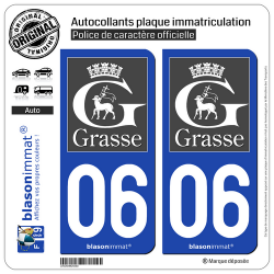 2 Autocollants plaque immatriculation Auto 06 Grasse - Tourisme