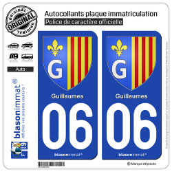 2 Autocollants plaque immatriculation Auto 06 Guillaumes - Armoiries