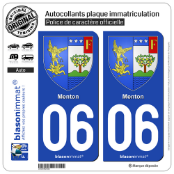 2 Autocollants plaque immatriculation Auto 06 Menton - Armoiries