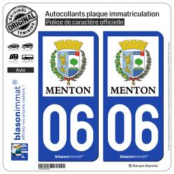 2 Autocollants plaque immatriculation Auto 06 Menton - Ville