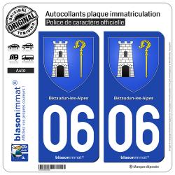 2 Autocollants plaque immatriculation Auto 06 Bézaudun-les-Alpes - Armoiries