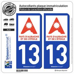 2 Autocollants plaque immatriculation Auto 13 Aubagne - Tourisme