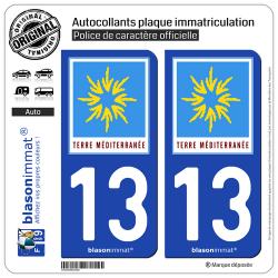 2 Autocollants plaque immatriculation Auto 13 PACA - Terre Méditerranée