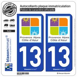 2 Autocollants plaque immatriculation Auto 13 PACA - Tourisme