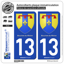 2 Autocollants plaque immatriculation Auto 13 Bouches-du-Rhône - Armoiries