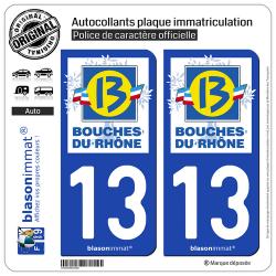 2 Autocollants plaque immatriculation Auto 13 Bouches-du-Rhône - Département