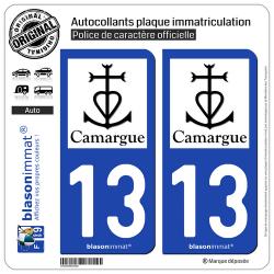 2 Autocollants plaque immatriculation Auto 13 Camargue - Croix Camarguaise