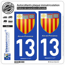 2 Autocollants plaque immatriculation Auto 13 Aix-en-Provence - Armoiries