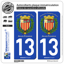 2 Autocollants plaque immatriculation Auto 13 Aix-en-Provence - Armoiries II