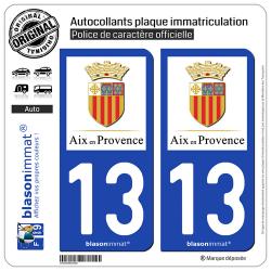 2 Autocollants plaque immatriculation Auto 13 Aix-en-Provence - Ville