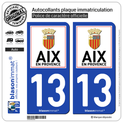 2 Autocollants plaque immatriculation Auto 13 Aix-en-Provence - Ville II
