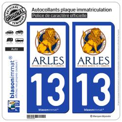 2 Autocollants plaque immatriculation Auto 13 Arles - Ville