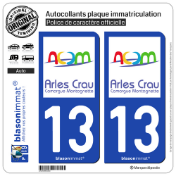 2 Autocollants plaque immatriculation Auto 13 Arles - Agglo