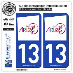 2 Autocollants plaque immatriculation Auto 13 Arles - Tourisme