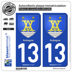 2 Autocollants plaque immatriculation Auto 13 Aubagne - Armoiries