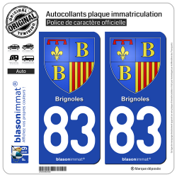 2 Autocollants plaque immatriculation Auto 83 Brignoles - Armoiries