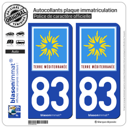 2 Autocollants plaque immatriculation Auto 83 PACA - Terre Méditerranée
