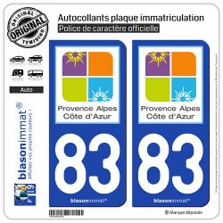 2 Autocollants plaque immatriculation Auto 83 PACA - Tourisme