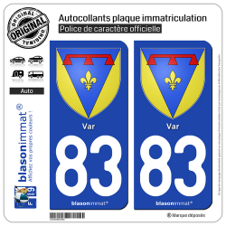 2 Autocollants plaque immatriculation Auto 83 Var - Armoiries