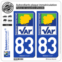 2 Autocollants plaque immatriculation Auto 83 Var - Département