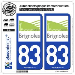 2 Autocollants plaque immatriculation Auto 83 Brignoles - Agglo